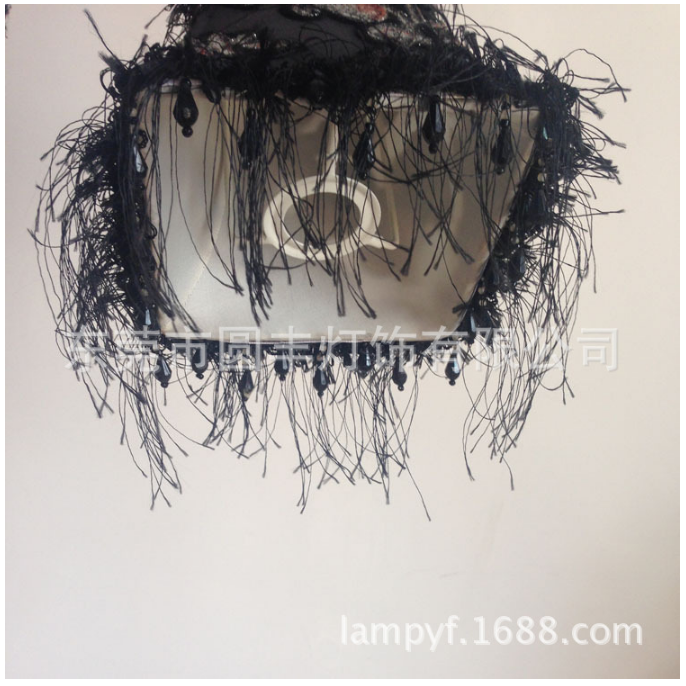 YF-150415-2 novel retro mysterious black chandelier pattern tassel silk fabric lampshade