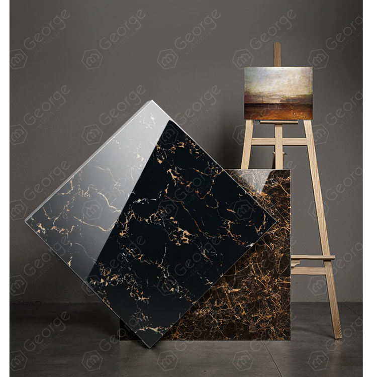 Nordic style ceramic tile living room floor tiles gold wire marble all glazed polished door stone-ADE-Black gold flower 800*800m
