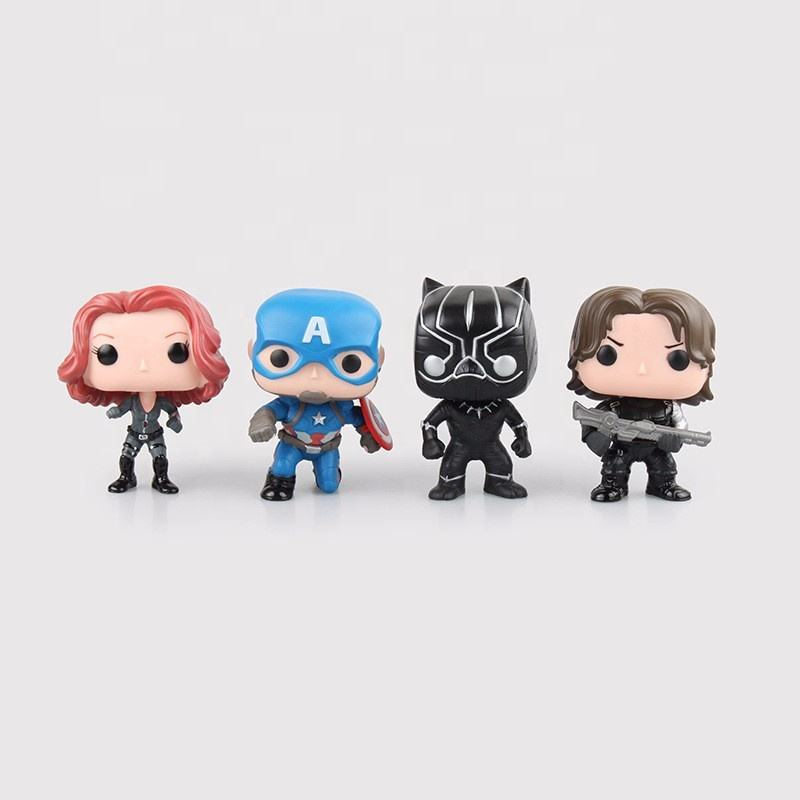 FUNKO POP Marvels Super Hero Figure Toys Steve Rogers 3 Civil War WINTER SOLDIER Black Widow black Panther Model GIFT