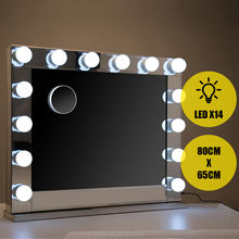 Hollywood Vanity 14 Led Bulb Large Lighted Makeup Mirror Dimmer Table Lamp Stand Makeup Vanity Mirror with Light