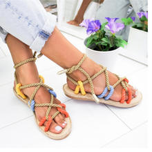 Hot Lady Roman Sandal Natural Rattan Grass Weaving Simple and Comfortable Tied Sandals For Women,Women'S Sandals