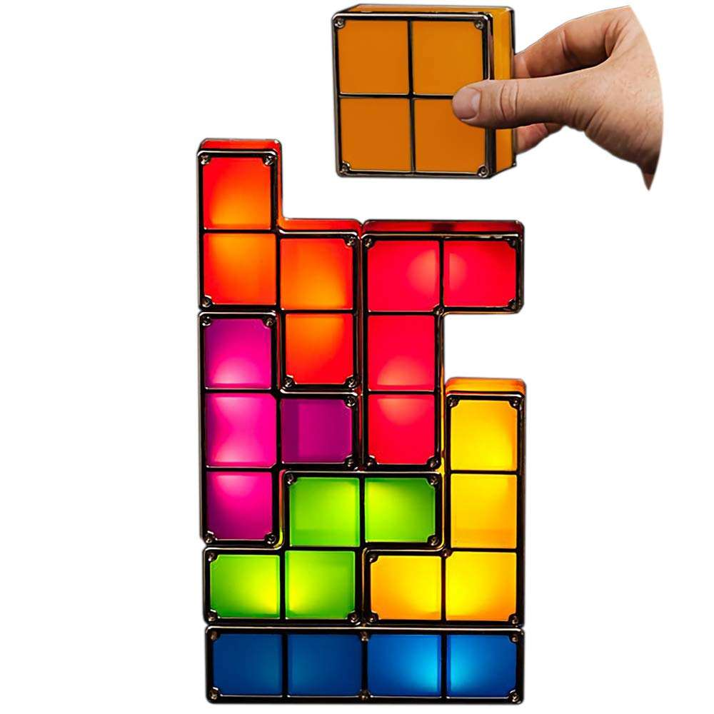 7 Colors 7 PCS Tetris Stackable Tangram Puzzle Night LED Light IQ Jigsaw Puzzle Lamp for Home Decoration Gift