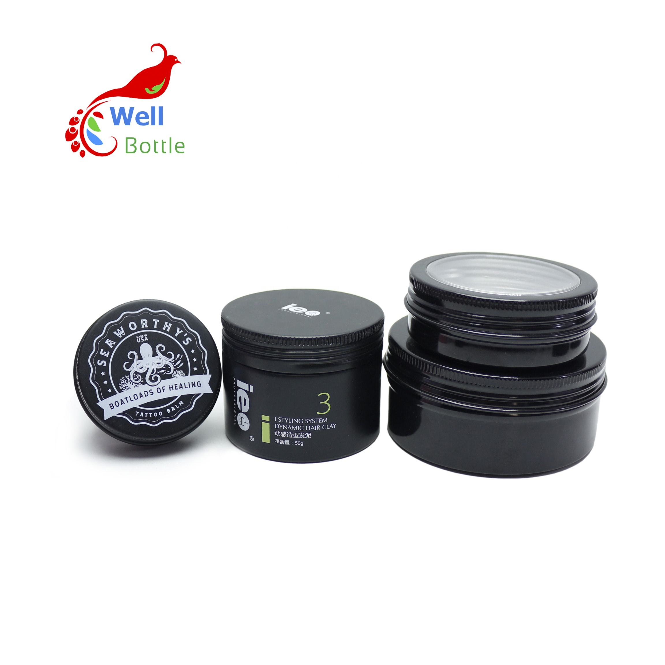 custom logo aluminum cosmetic jar metal black tin box AJ-378C