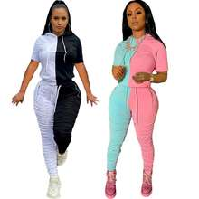 DD-D5126 New design 2020 Sexy matching color short sleeve woman casual 2 piece women clothing stacked pants set