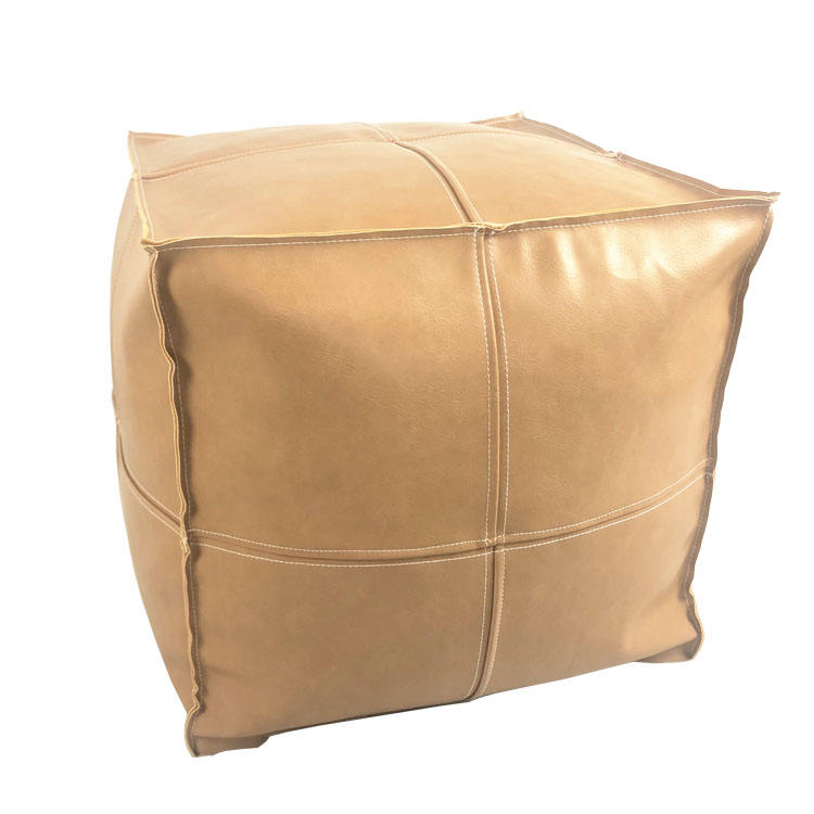 Square Moroccan PU Leather Ottoman Pouf Stool