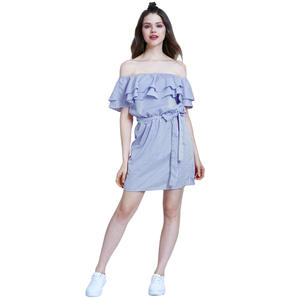 Summer Girls Bandage Striped Party Dress Sexy Cute Ruffles Shoulder - Off Mini Skirt Women Striped Dresses Vestido