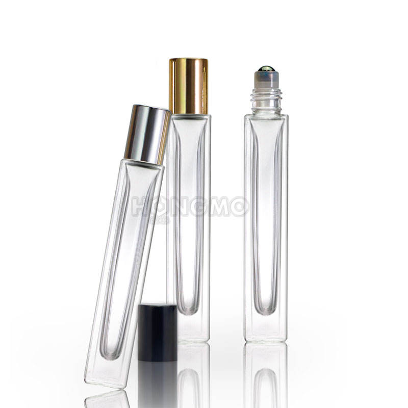 empty 10 ml rectangle thick bottom perfume glass bottle 10ml square roll on bottle with stainless steel roller for essential oil