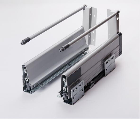 Buffer damping Drawer Slide Tandem box with aluminium bar for Kitchen cabinet