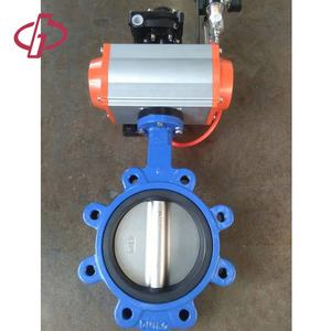 PN16 DN150 Flange Type Handles Double Eccentric Wafer Pneumatic Butterfly Valve
