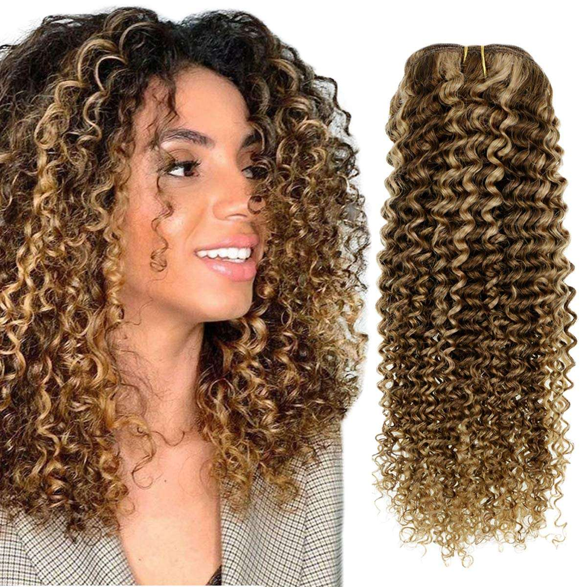 clip in brown and blonde curly human hair extensions highlighted kinky curly clip in human hair in stock