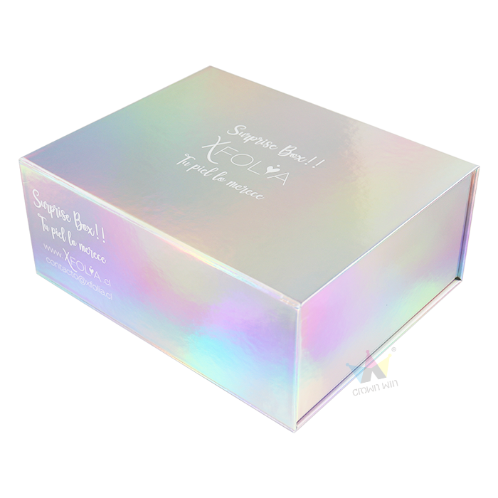 Unique Design Logo Printed Iridescence Magnetic Holographic Gift Box