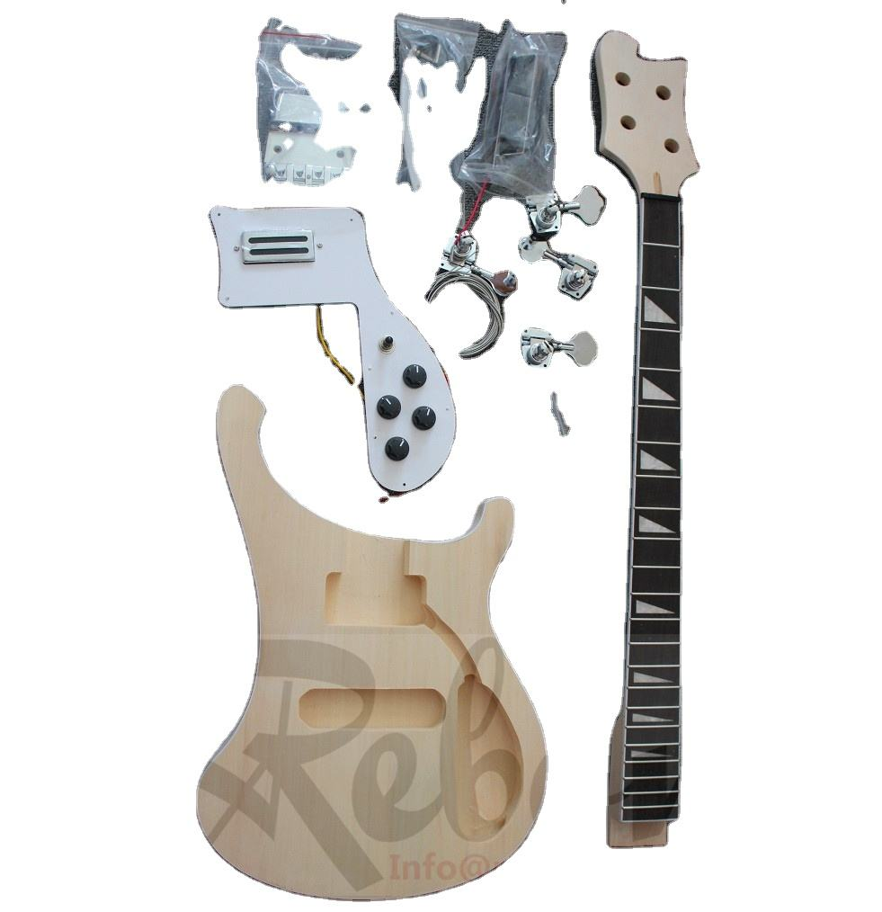 Weifang Rebon 4 String Unfinished DIY Ricken Electric Bass Guitar Kit/Electric guitar package