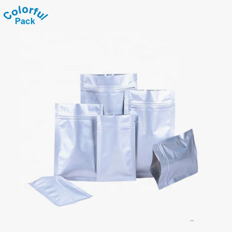 Custom matt light food packaging zip lock silver mylar aluminum foil Plastic Bags