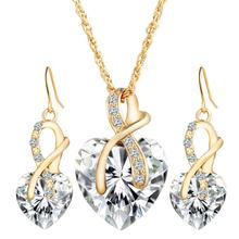 Women Heart-shaped artificial Austrian crystal zircon earrings necklace set jewelry