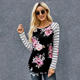 2020 Fashion New Casual Floral Striped Women Blouse Knitted Long Sleeve Tops
