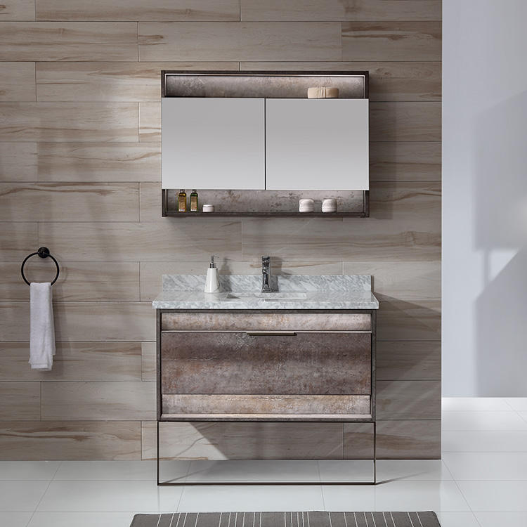 Best Selling Brown Bathroom Cabinets With Led Mirror For Bathroom