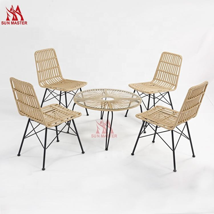 Wholsale Waterproof Outdoor Lawn Garden 4-piece Rattan Armless Chairs And Table For French Bistro Dining Room Balcony Beach