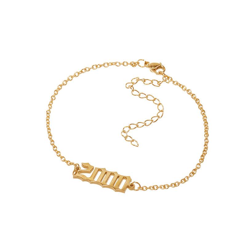 HOVANCI Personalized 1980-2000 Year Number Anklets Stainless Steel Gold Plated Silver Foot Chain Ankle Bracelet For Women