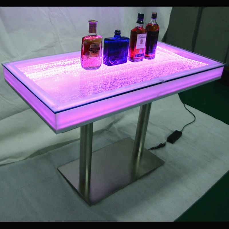 Night club <span class=keywords><strong>decor</strong></span> moderne nieuwe stijl aquarium water bubble tafelblad bar tafel led bar meubels