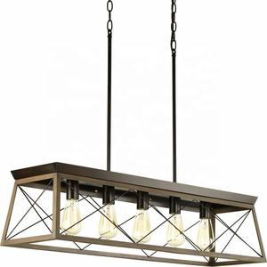 Rectangular Farmhouse Chandeliers Rustic Metal Modern Linear Island Industrial Pendant Lights for Dining Room