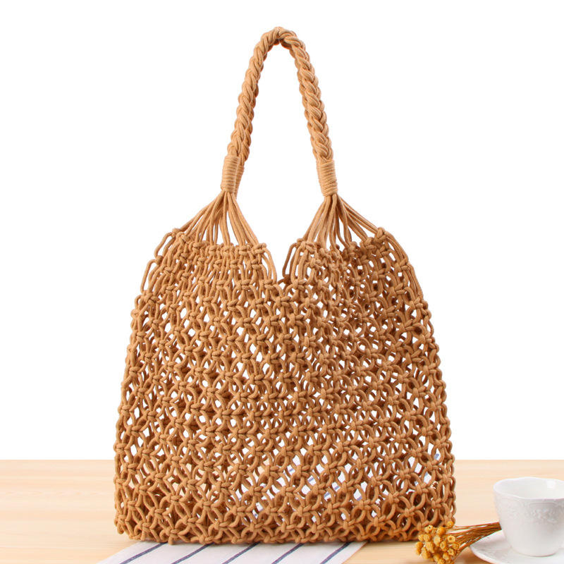 Handmade Straw Bag Travel Beach Fishing Net Handbag Shopping Woven Shoulder Bag for Women