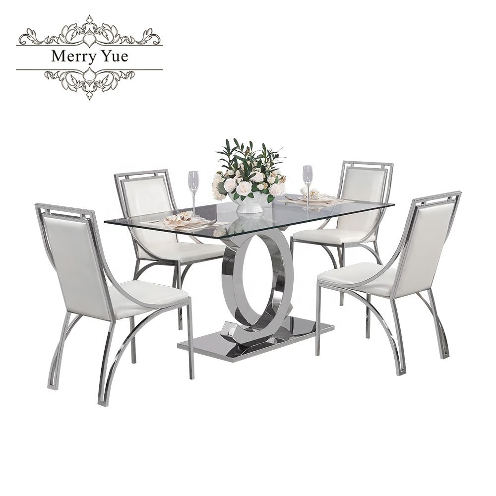 Modern luxury design rectangle tempered glass top dining table
