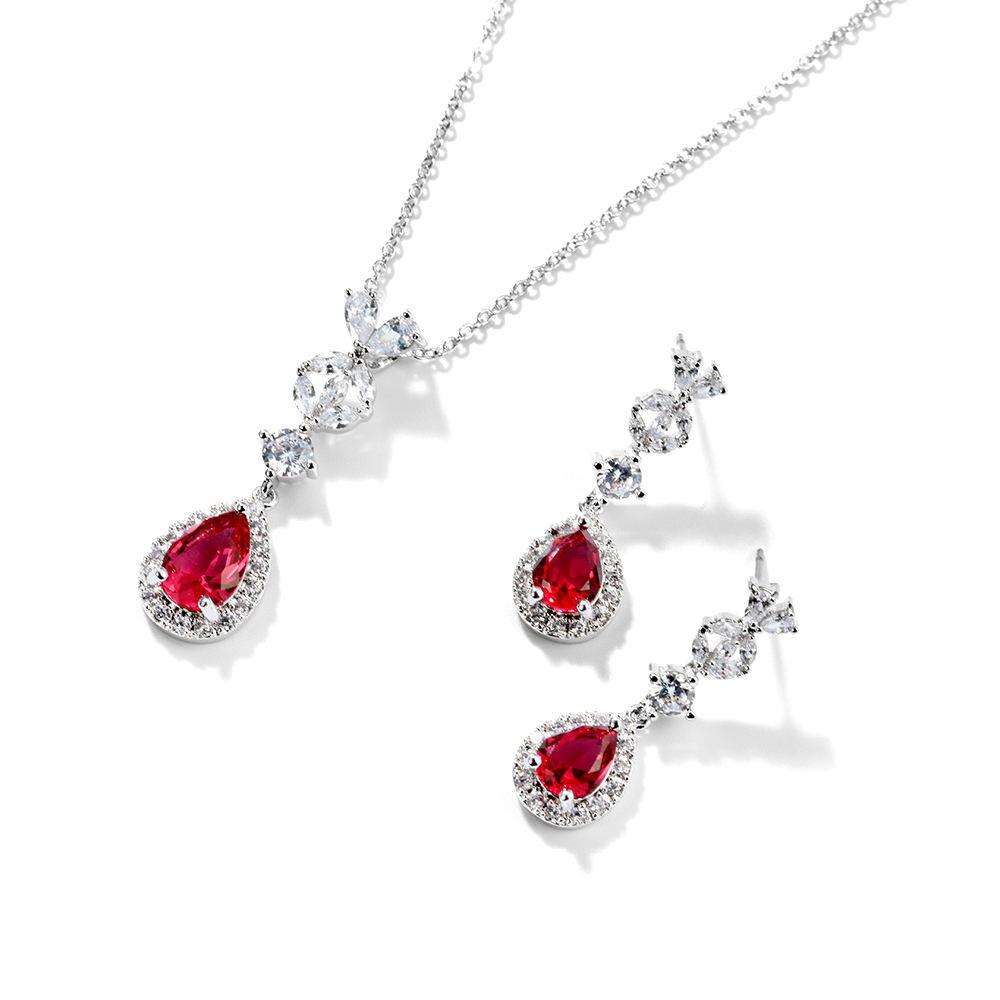 Hot sale da moda Teardrop vermelho rubi colar de casamento zircão cúbico brincos de <span class=keywords><strong>jóias</strong></span> por atacado de moda