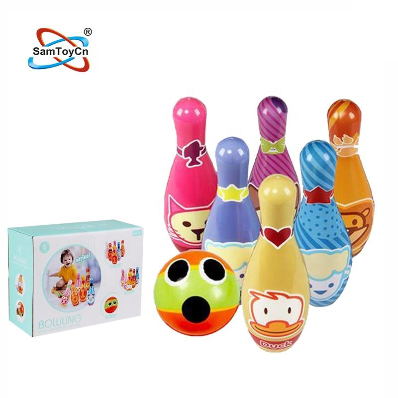 Kids Sport Toy Soft Safety Colorful Squeeze Solid PU Bowling Set Toy