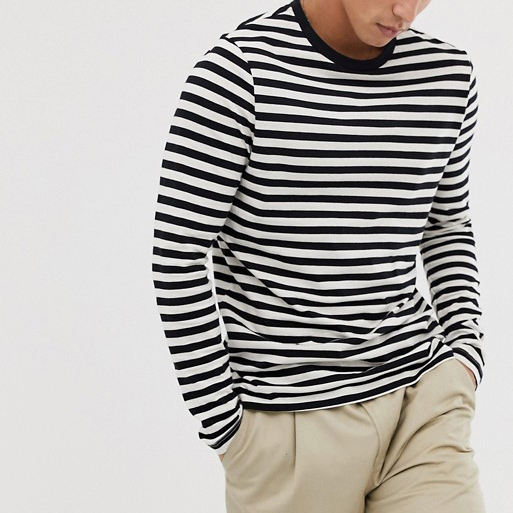 Classic And Quality 100% Cotton Stripe MenのLong Sleeve T-shirt With Printed Logo Embroidery Logo