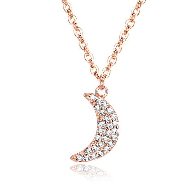 Engagement sieraden 925 sterling zilver 3A zirconia rose gold plating fashion crescent handige ketting