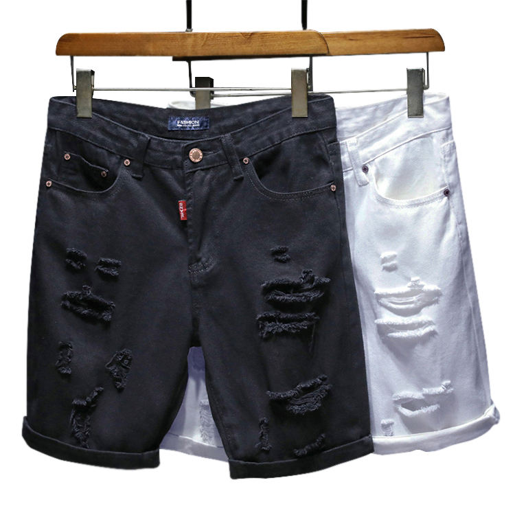 2020 Korean Fashion Summer Stretched Shorts Ripped Casual Cut Up Jeans Half Pants For Men