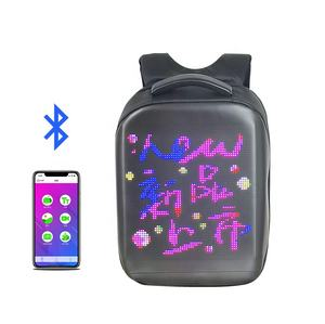 2020 High Quality Mobile Panel School With Screens Safety Computer Display Bag App Dynamic Wifi Smart Advertising Led Backpack
