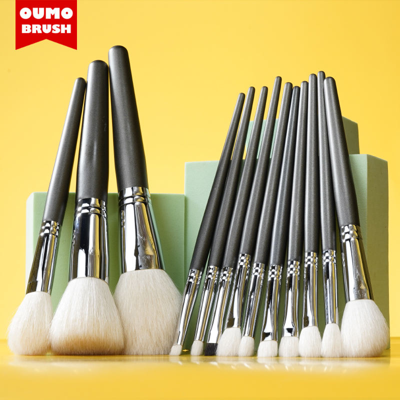 OUMO-high quality wholesale 14 pcs XGF goat hair makeup brush cooper tube foundation makeup brushes