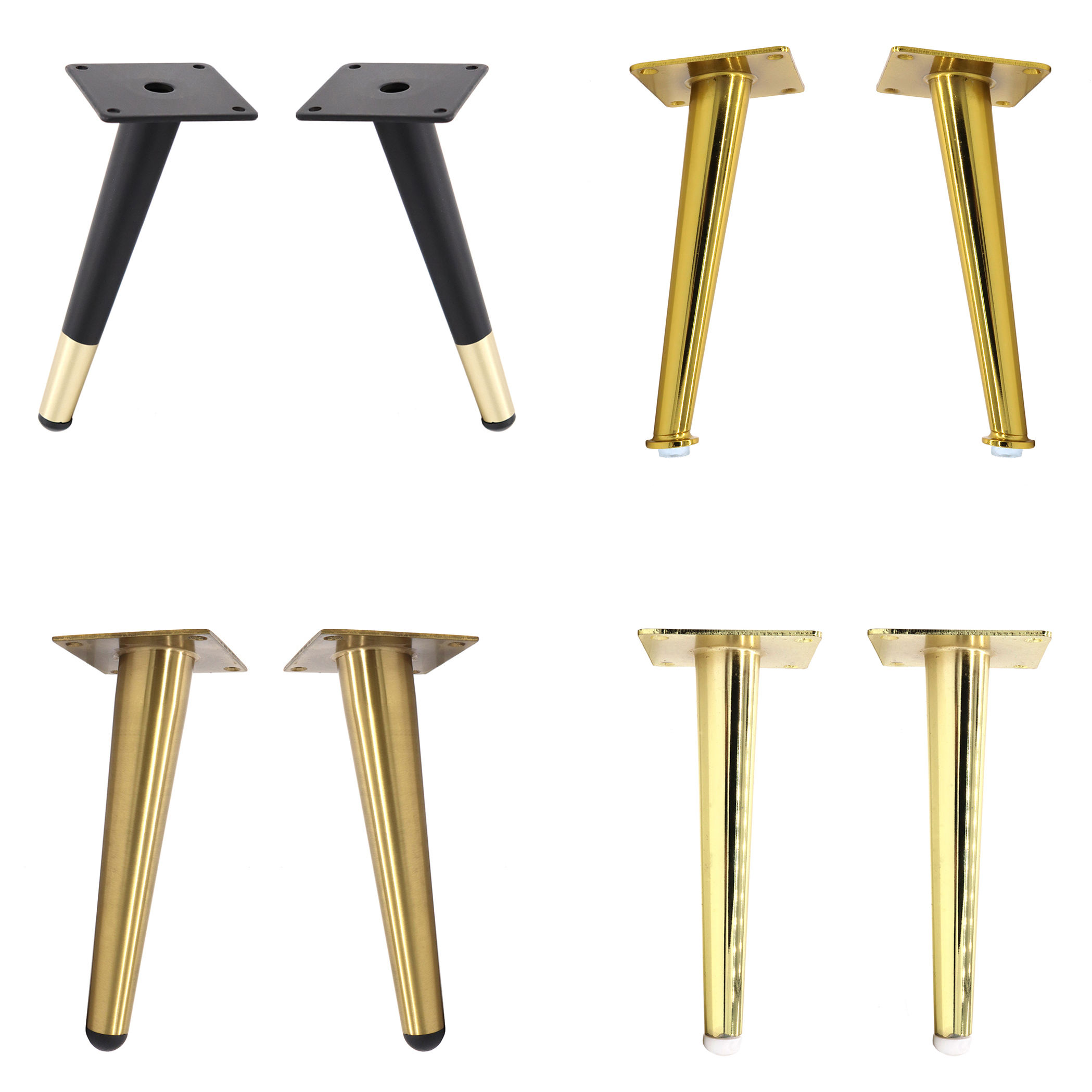 Sofa Leg 100mm - 400mm Iron Tapered Chair Support Gold Brass Steel Furniture Feet BedSide Bed Chrome Cabinet Metal Sofa Leg