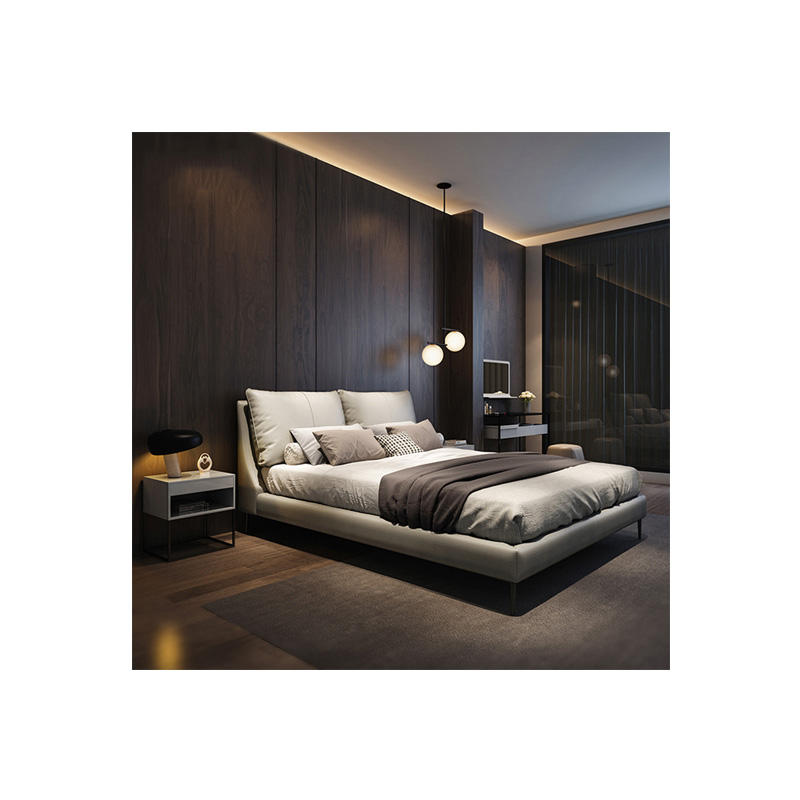 MAXKY Modern Light Grey Bedroom Furniture Leather Bed With Soft Bag