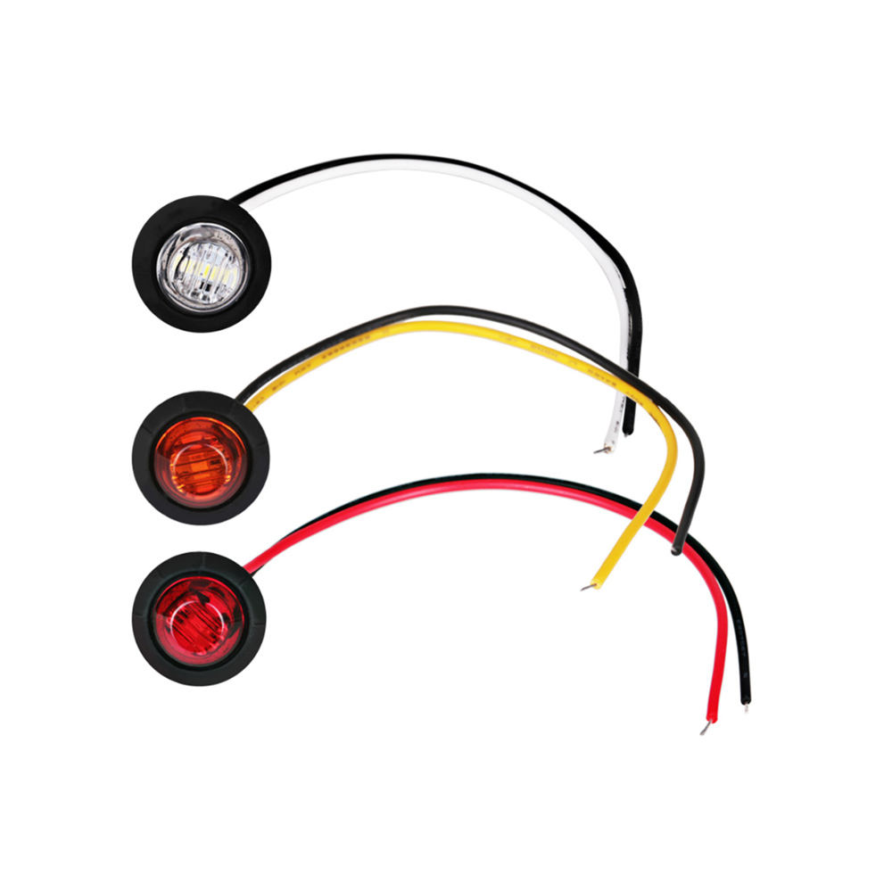 "3 LED 12V 24V Trailer Clearance Lights Mini 3/4"""" Round Led Side Marker Light"