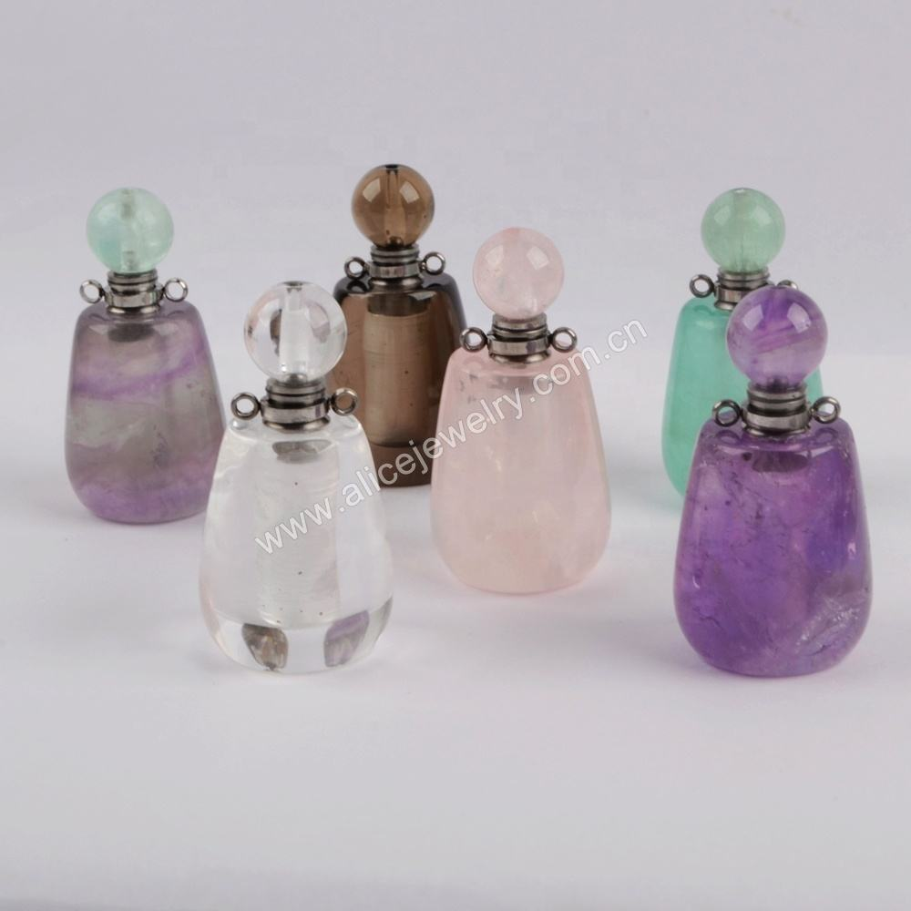 WX1193 Elegant gift for her gemstone perfume bottle pendant diffuser jewelry essential oil perfume