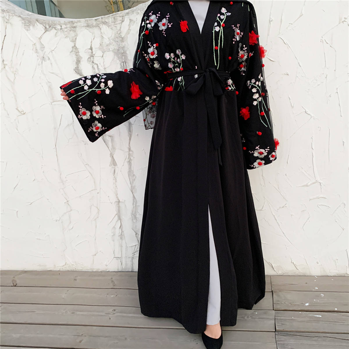 1632# Latest Designs 3D flowers open floral kimono cardigan kaftan hijab new model abaya in dubai