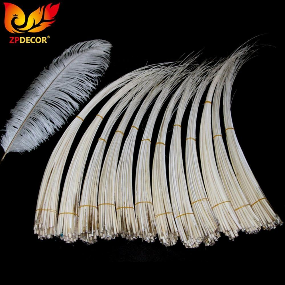 ZPDECOR Wholesale 50-60 cm Cheap Handwork Stripped White Ostrich Feathers Quill for Brazil Carnival Hats