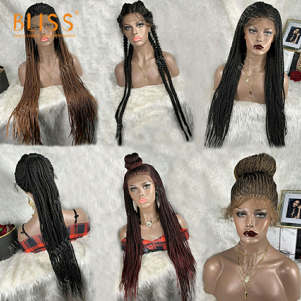 Bliss Synthetic Hair Wigs Box Braids Lace Wig Perruque Tresse Long Dreadlock Twist Box Braided Lace Wig For Black Women