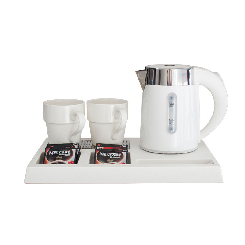 Honeyson new white 0.6L double layer electric kettle with tray for hotel