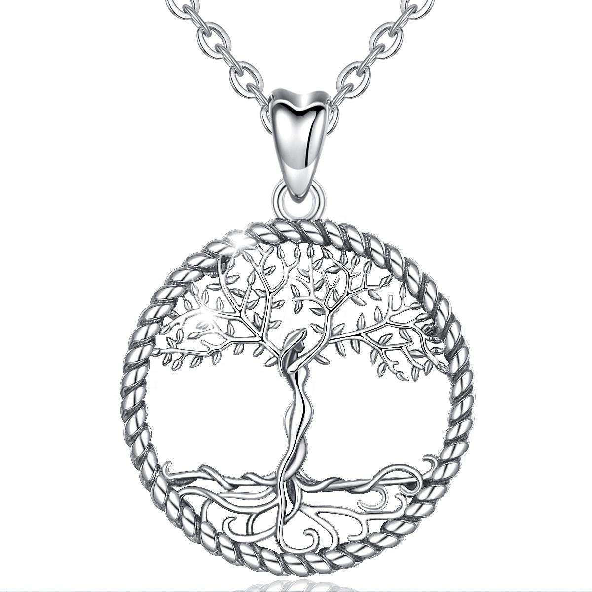 Merryshine Lucky Custom 925 Sterling Silver Tree Of Life Pendant Necklace for Girlfriend Women