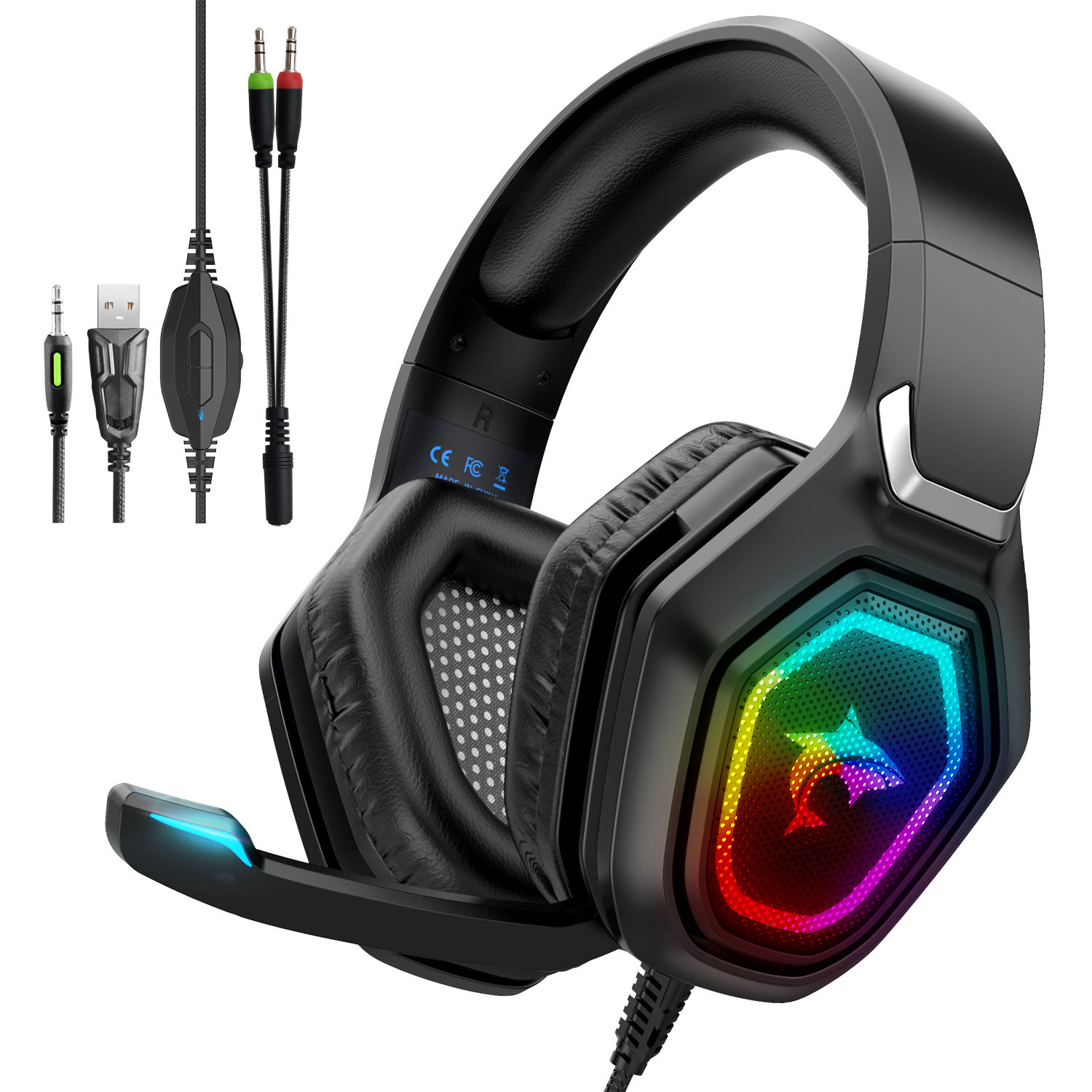 Usb wired gaming headset microphone and light Stereo Sound Headsets for PS4 PC gamer headphones