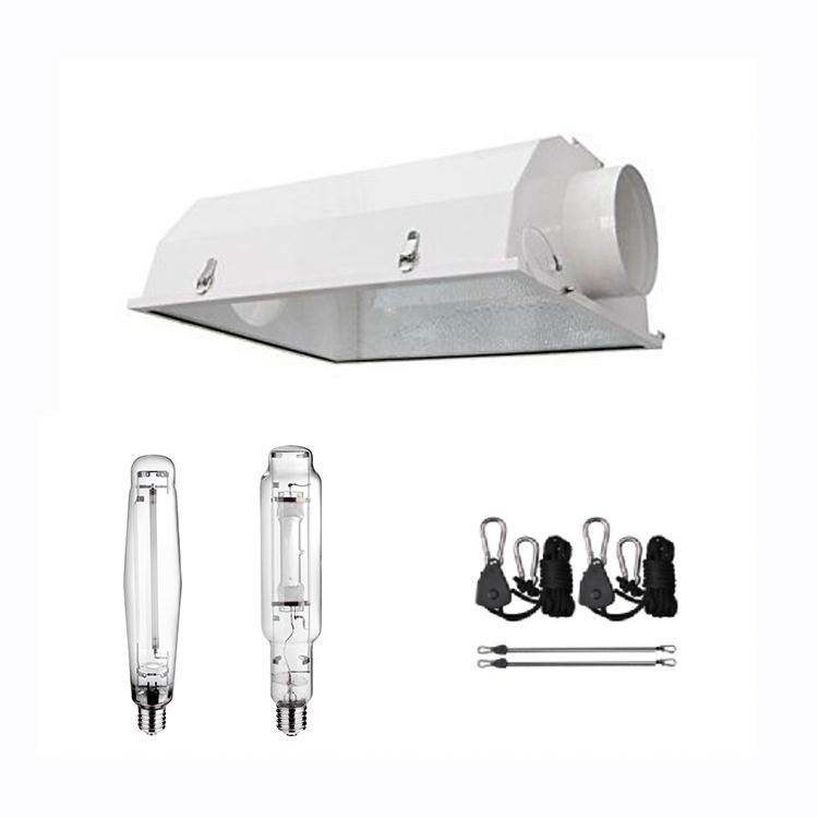 high quality indoor greenhouse plant grow lamp light cool glass tube hood reflector for MH/HPS bulb