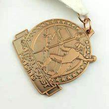 Wholesale high quality Copper Fencing Award emboss 3D Medals with ribbon