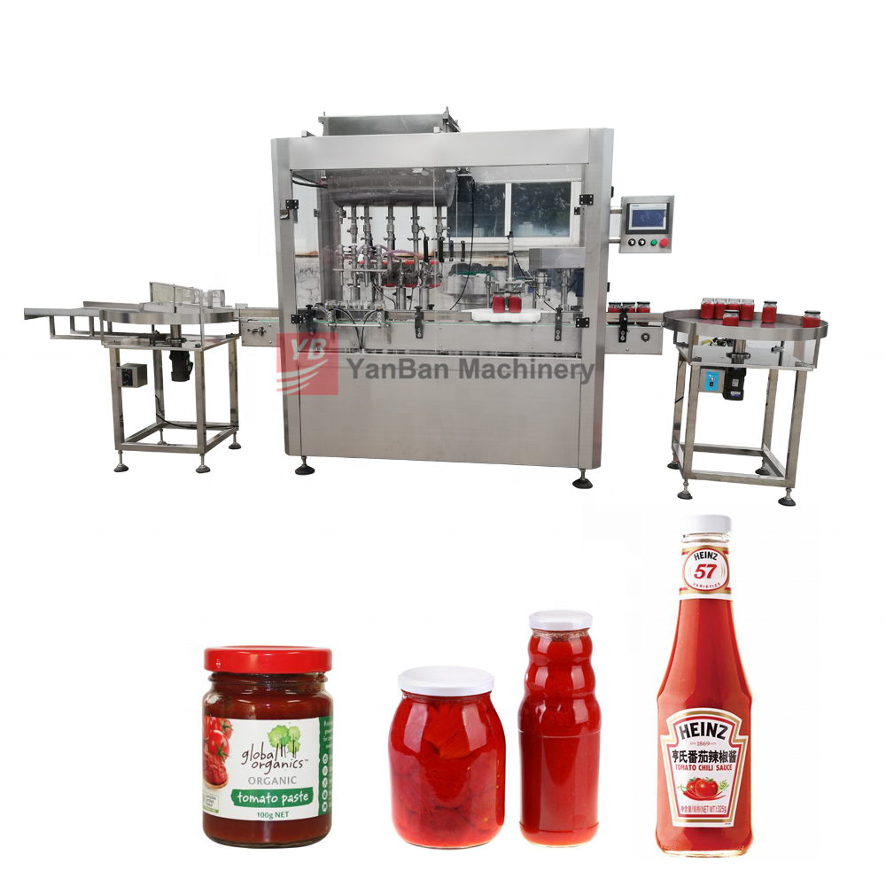 Full Automatic Tomato ketchup honey 8 oz Round Glass Mason Canning Jars with Lid Filling Capping labeling Line