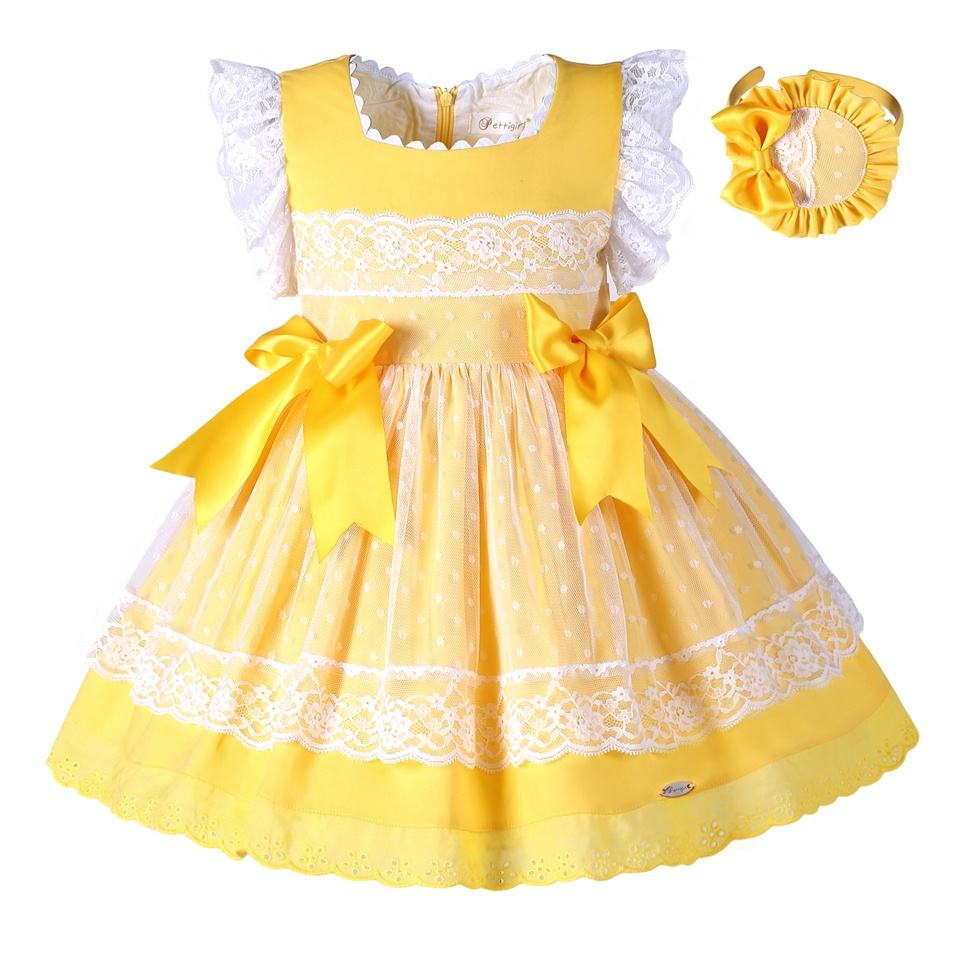 CUSTOM MADE 2020 Easter Girl Spanish Dresses Sets With Headpiece Yellow Dresses For Girls Dresses 2-8 Years Children Clothing