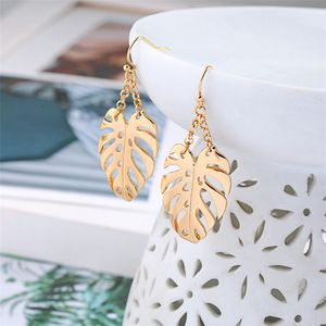 Bohemian Hollow Leaf Dangle Drop Earrings Women Gold Leaves Statement Holiday Jewelry Party Gifts Earring