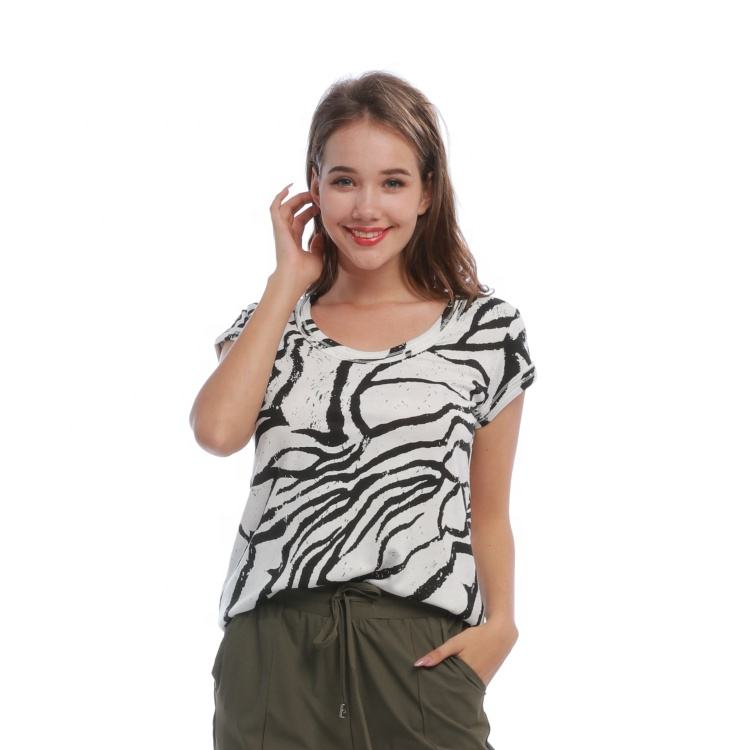 Hot seller Knitted Animal Zebra Print Short Sleeve Crew Neck Casual Girls Blouse Women's cute Tops