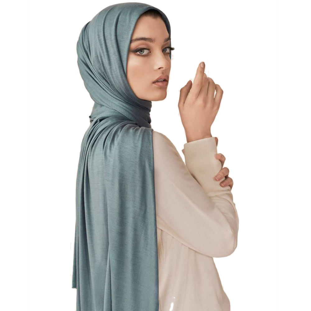 2019 new design Arabic style plain solid color hijab cotton jersey scarf shawls